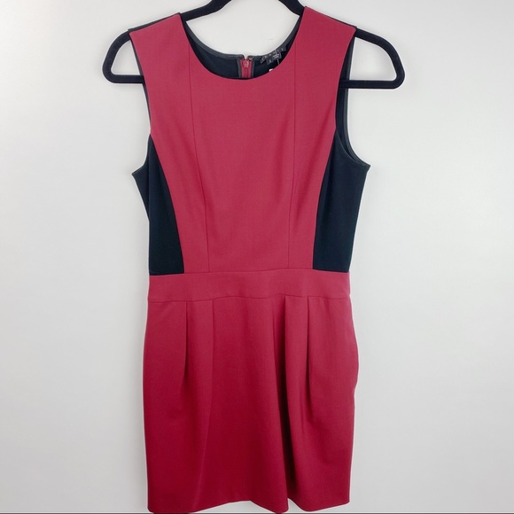 Theory red and black sleeveless shift dress